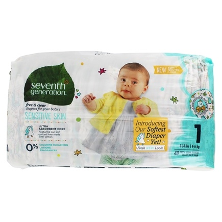 Seventh Generation - Free & Clear Baby Diapers Stage 1 (8-14 lbs.) - 40 Diaper(s)
