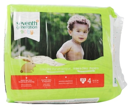 DROPPED: Seventh Generation - Free and Clear Baby Diapers Stage 4 (22-37 lbs) - 27 Diaper(s)
