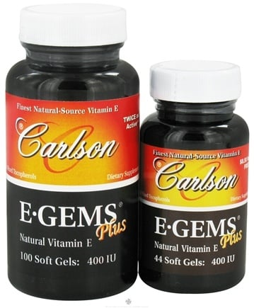 DROPPED: Carlson Labs - E-Gems Plus 400 IU - Bonus Pack 100+44 Softgels - CLEARANCE PRICED