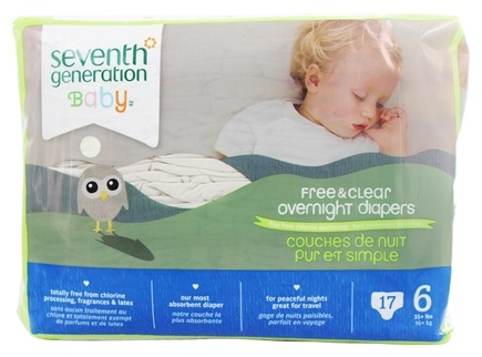 DROPPED: Seventh Generation - Overnight Diapers Stage 6 (35+ lbs.) - 17 Diaper(s)