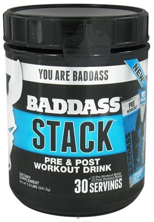 DROPPED: Baddass Nutrition - Stack The Complete Workout Drink 30 Servings - 30 Stick(s) CLEARANCE PRICED