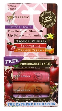 Out Of Africa - Pure Shea Butter Lip Balm Variety Pack - 4 Stick(s)