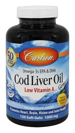 Carlson Labs - Cod Liver Oil Gems Low Vitamin A 1000 mg. - 150 Softgels