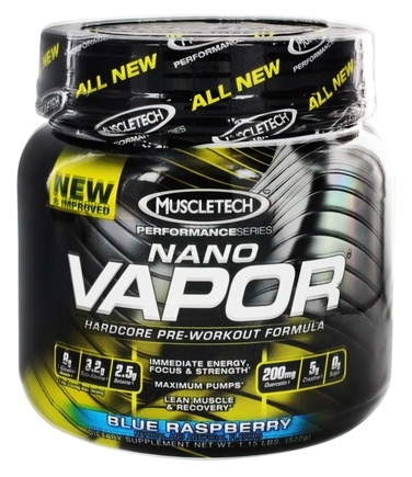 DROPPED: Muscletech Products - Nano Vapor Performance Series Hardcore Pre-Workout Formula Blue Raspberry - 1.2 lbs.