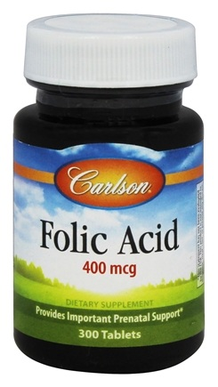DROPPED: Carlson Labs - Folic Acid 400 mcg. - 300 Tablets CLEARANCE PRICED