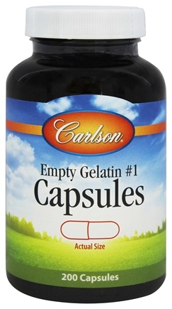 DROPPED: Carlson Labs - Empty Gelatin Capsules Size 1 Medium-Small - 200 Capsules