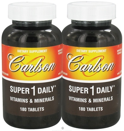 DROPPED: Carlson Labs - Super 1 Daily Vitamins and Minerals Twin Pack 180+180 Tablets - CLEARANCE PRICED