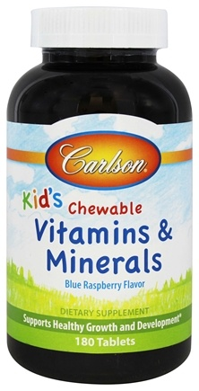 DROPPED: Carlson Labs - Kids Chewable Vitamins and Minerals Blue Raspberry Flavor - 180 Chewable Tablets CLEARANCE PRICED