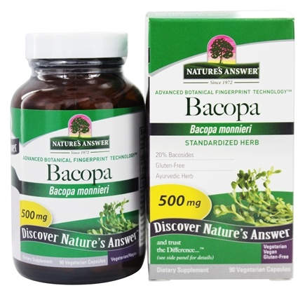 Nature's Answer - Standardized Bacopa 500 mg. - 90 Vegetarian Capsules