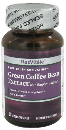 DROPPED: ResVitale - Pure Youth Activating Green Coffee Bean Extract Svetol® with Raspberry Ketones - 60 Vegetarian Capsules