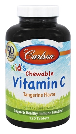 DROPPED: Carlson Labs - Kid's Chewable Vitamin C Tangerine Flavor 250 mg. - 120 Chewable Tablets