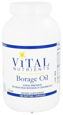 DROPPED: Vital Nutrients - Borage Oil 1000 mg. - 180 Capsules CLEARANCE PRICED