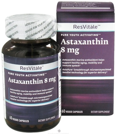 DROPPED: ResVitale - Pure Youth Activating Astaxanthin - 60 Vegetarian Capsules