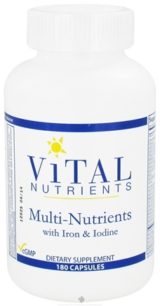 DROPPED: Vital Nutrients - Multi-Nutrients with Iron and Iodine - 180 Capsules CLEARANCE PRICED