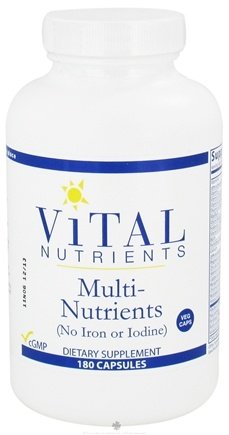 DROPPED: Vital Nutrients - Multi-Nutrients No Iron or Iodine - 180 Capsules