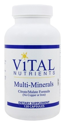 Vital Nutrients - Multi-Minerals Citrate/Malate Formula (No Copper or Iron) - 120 Capsules