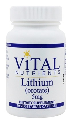 Vital Nutrients - Lithium Orotate 5 mg. - 90 Vegetarian Capsules