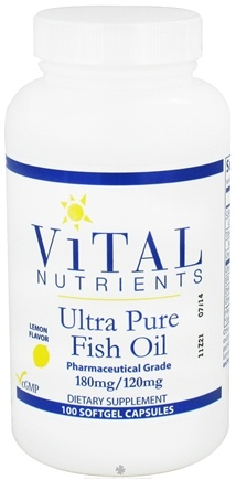 DROPPED: Vital Nutrients - Ultra Pure Fish Oil 180mg/120mg Lemon Flavor - 100 Capsules