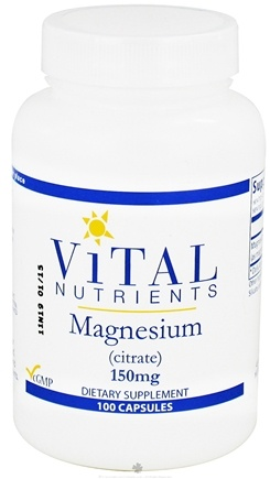 DROPPED: Vital Nutrients - Magnesium Citrate 150 mg. - 100 Capsules CLEARANCE PRICED