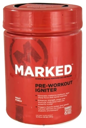 DROPPED: Marked Nutrition - Pre-Workout Igniter Fruit Punch - 14.79 oz.
