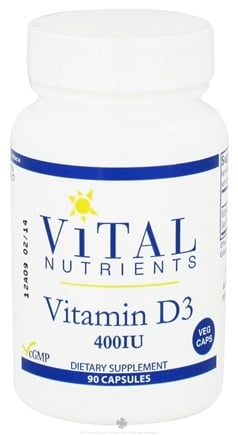 DROPPED: Vital Nutrients - Vitamin D3 400 IU - 90 Vegetarian Capsules