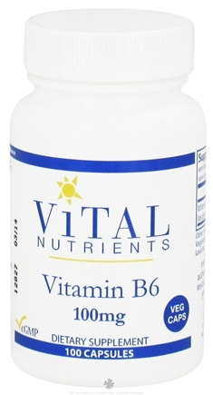 DROPPED: Vital Nutrients - Vitamin B6 100 mg. - 100 Vegetarian Capsules CLEARANCE PRICED