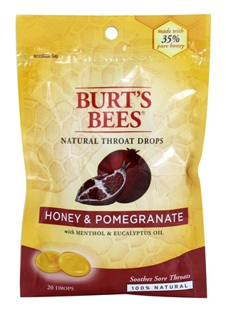 DROPPED: Burt's Bees - Natural Throat Drops Honey & Pomegranate - 20 Count