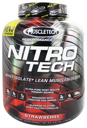 Muscletech Products - Nitro-Tech Performance Series Whey Isolate Strawberry - 4 lbs.