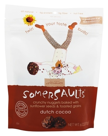 Somersaults - Crunchy Nuggets Sunflower Seed Snacks Dutch Cocoa - 6 oz.