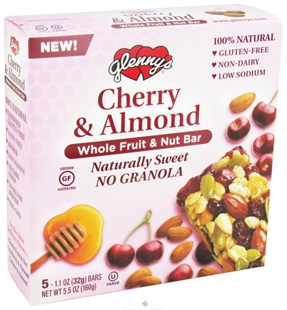 DROPPED: Glenny's - Whole Fruit & Nut Bar Cherry & Almond - 5 Bars CLEARANCE PRICED
