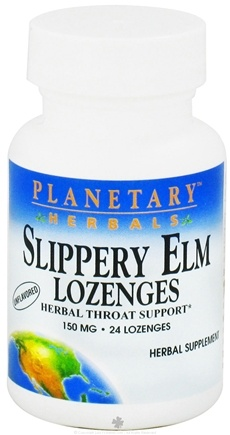 DROPPED: Planetary Herbals - Slippery Elm Lozenges Unflavored 150 mg. - 24 Lozenges CLEARANCE PRICED