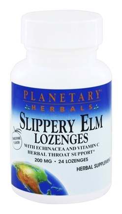 DROPPED: Planetary Herbals - Slippery Elm Lozenges Tangerine Flavor 200 mg. - 24 Lozenges