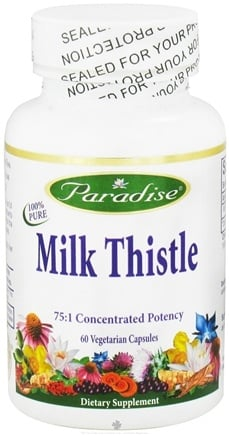 DROPPED: Paradise Herbs - Milk Thistle 75:1 Concentrated Potency - 60 Vegetarian Capsules