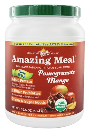 DROPPED: Amazing Grass - Amazing Meal Powder 30 Servings Pomegranate Mango Infusion - 31 oz.