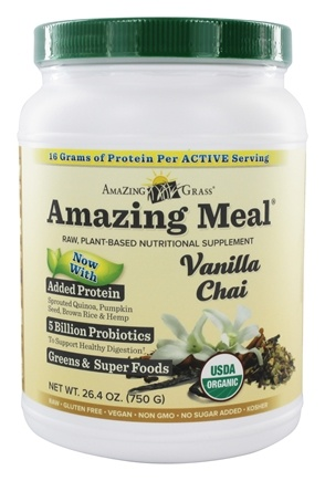 DROPPED: Amazing Grass - Amazing Meal Powder 30 Servings Vanilla Chai Infusion - 24.8 oz.