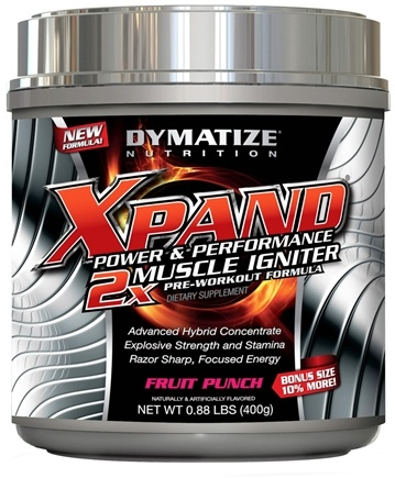 DROPPED: Dymatize Nutrition - Xpand 2x Muscle Igniter Pre-Workout Formula Bonus Size 10% More Fruit Punch - 0.88 lbs.