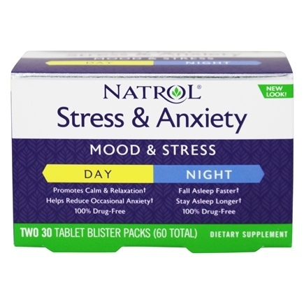 Natrol - Stress Anxiety Day & Night Formula 30-Day Supply - 60 Tablets