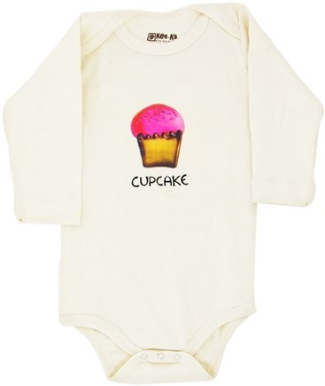 DROPPED: Kee-Ka - 100% Organic Cotton Long Sleeve BodySuit With Wearable Greetings Gift Box Cupcake 3-6 Months - CLEARANCE PRICED