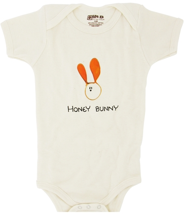 DROPPED: Kee-Ka - 100% Organic Cotton Short Sleeve BodySuit With Wearable Greetings Gift Box Honey Bunny 3-6 Months - CLEARANCE PRICED