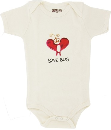 DROPPED: Kee-Ka - 100% Organic Cotton Short Sleeve BodySuit With Wearable Greetings Gift Box Love Bug 3-6 Month - CLEARANCE PRICED