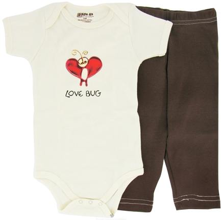 DROPPED: Kee-Ka - 100% Organic Cotton Baby Gift Set Short Sleeve BodySuit + Leggings Love Bug 3-6 Months - CLEARANCE PRICED