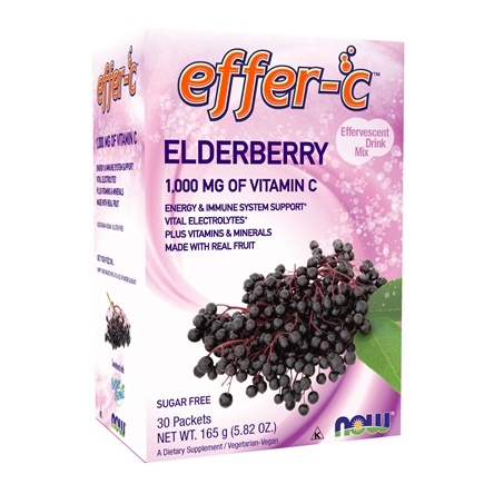 DROPPED: NOW Foods - Effer-C Effervescent Drink Mix Elderberry - 30 Packet(s)