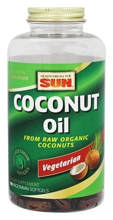 DROPPED: Health From The Sun - Coconut Oil From Raw Organic Coconuts - 180 Vegetarian Softgels