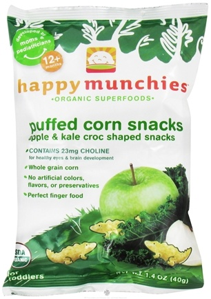 DROPPED: HappyFamily - Happy Munchies Puffed Corn Snacks Apple & Kale - 1.4 oz.