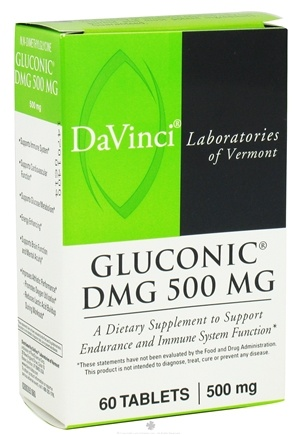 DROPPED: DaVinci Laboratories - Gluconic DMG 500 mg. - 60 Vegetarian Tablets