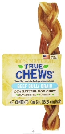 DROPPED: True Chews - Beef Bully Braid For Dogs - 6 in.
