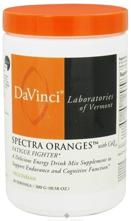 DROPPED: DaVinci Laboratories - Spectra Oranges with CoQ10 Fatigue Fighter Drink Mix Powder Orange Vanilla Flavor - 300 Grams CLEARANCE PRICED