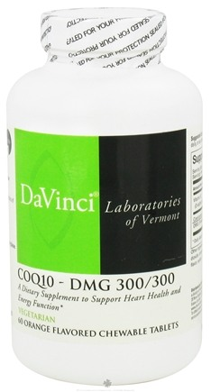 DROPPED: DaVinci Laboratories - CoQ10-DMG 300 mg/300 mg Orange Flavor - 60 Chewable Tablets CLEARANCE PRICED