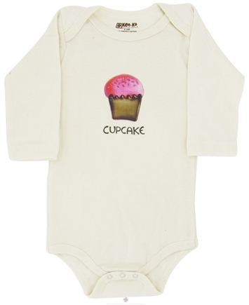 DROPPED: Kee-Ka - 100% Organic Cotton Long Sleeve BodySuit With Wearable Greetings Gift Box Cupcake 6-12 Months - CLEARANCE PRICED
