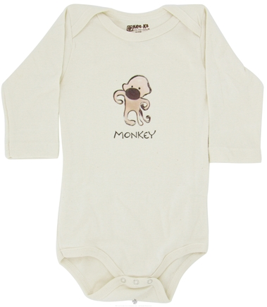 DROPPED: Kee-Ka - 100% Organic Cotton Long Sleeve BodySuit With Wearable Greetings Gift Box Monkey 6-12 Months - CLEARANCE PRICED